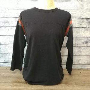 Uniqlo navy/coral long sleeve dolman striped shirt